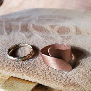 2, size 8 and adjustable copper and twisted ring